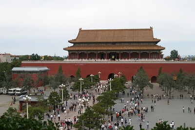 View of the Duanmen, the second gate of the Forbidden City, from the backside of Tiananmen, the first gate.
