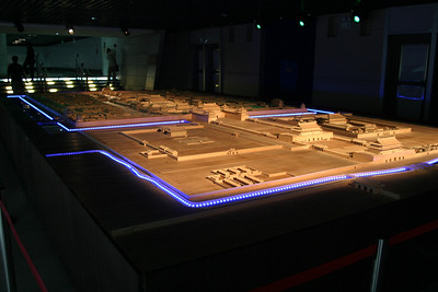 A model of the Forbidden City, viewed from the southwest.  Tiananmen, the front gate, Duanmen, the second gate, and Wumen, the large gate that extends across the moat, are in the forground.