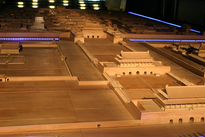 A model of the Forbidden City.  The three front gates (Tiananmen, Duanmen, Wumen) are in the immediate foreground; the three imperial reception halls follow, beginning with Taihedian.