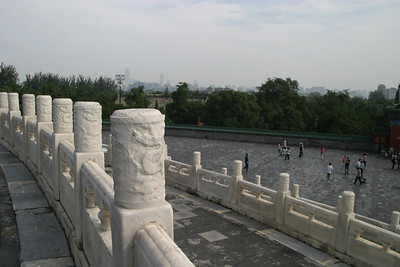 Looking out from the Hall of Prayer for Good Harvests; the Beijing skyline is visible in the distance.
