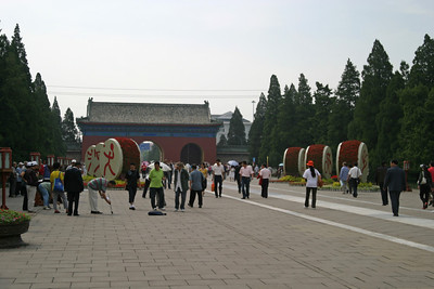 The south gate of the Temple of Heaven.  Note the special Olympic decorations.