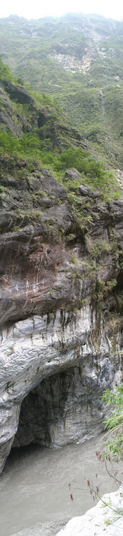 A vertical panorama taken in the Taroko Gorge.  Several photos were combined, covering a field of view of nearly 180 degrees.