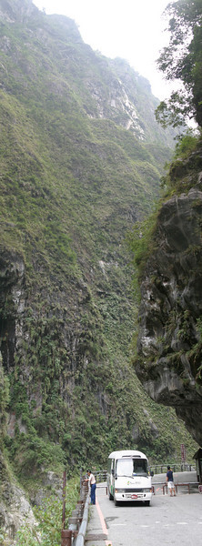 A vertical panorama taken in the Taroko Gorge.  Three photos were combined, covering a field of view of about 120 degrees.
