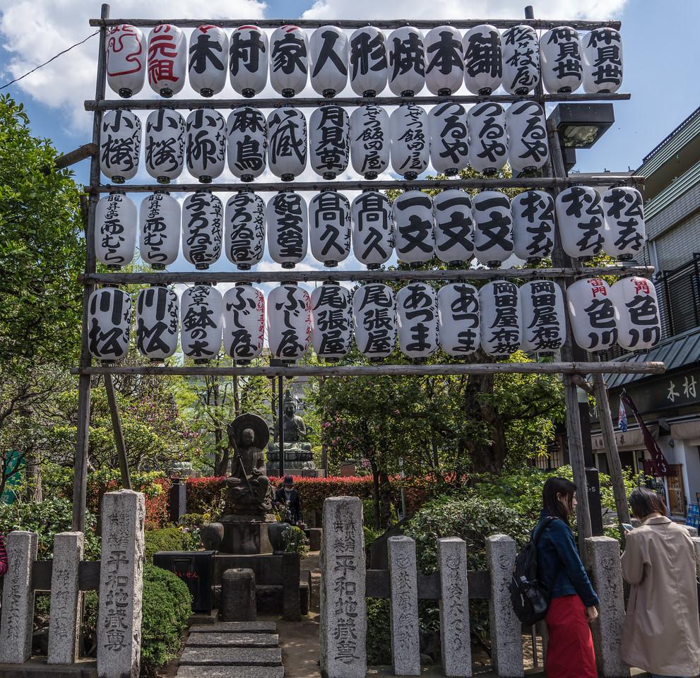 Buddha and lanterns