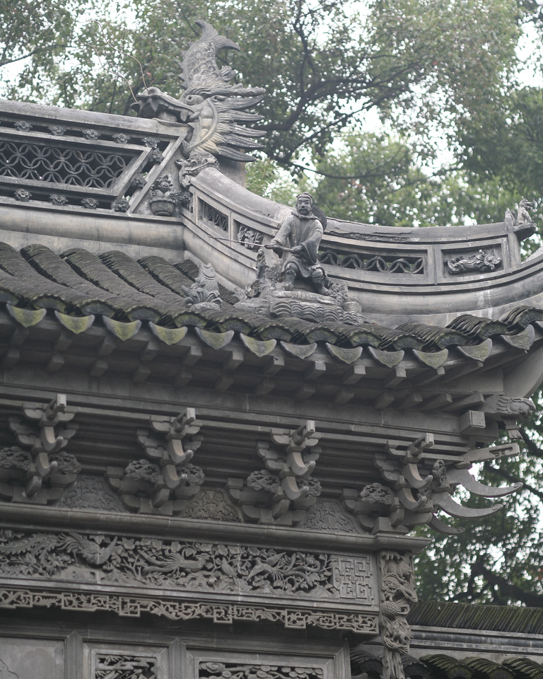 Roof Sculpture, Fisherman, Entrance to Yu Gardens, Shanghai, China