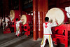 Chinese drummers performing at the Drum Tower in Beijing, China.