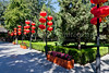 Chinese lanterns adorn the pagoda buildings in Grandview Park, Beijing, China.