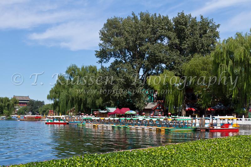 Boats in Lake Houhai in the Hutong of Beijing, China.