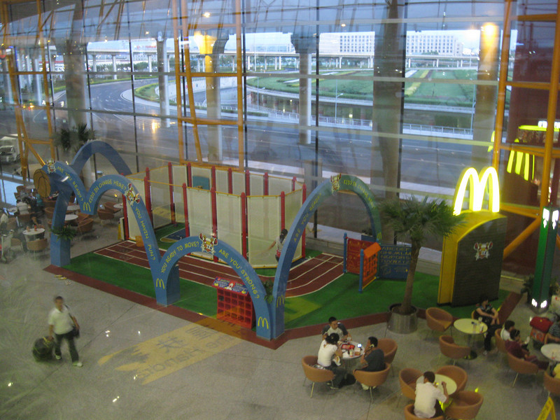 """Julie was watching """"Super Size Me"""" before I left for the airport and this little playground in the Beijing airport reminded me of the bit about McDonald's marketing to kids."""