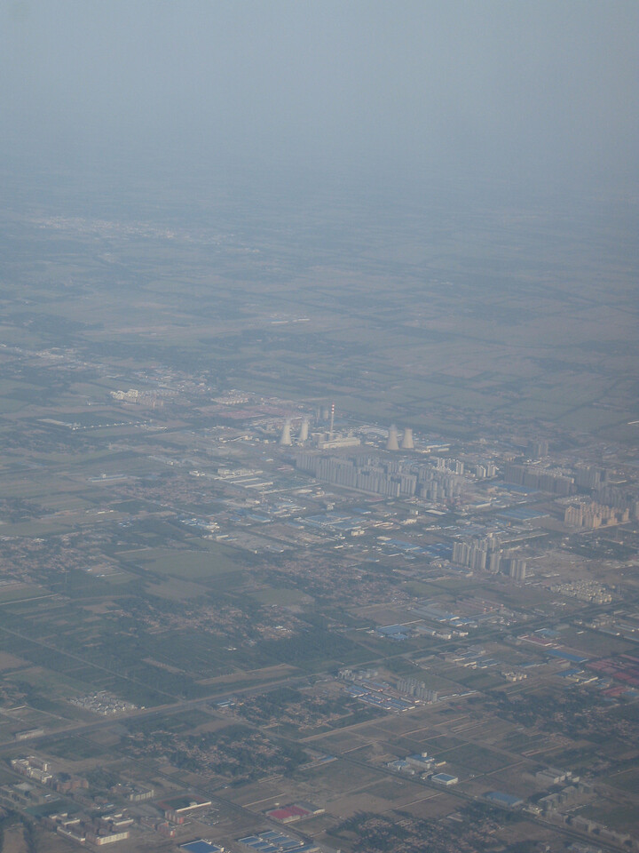 The air was amazingly clear on the flight in. This is near Beijing. The previous times I've flown in, the ground has been 100% obscured by grey haze.