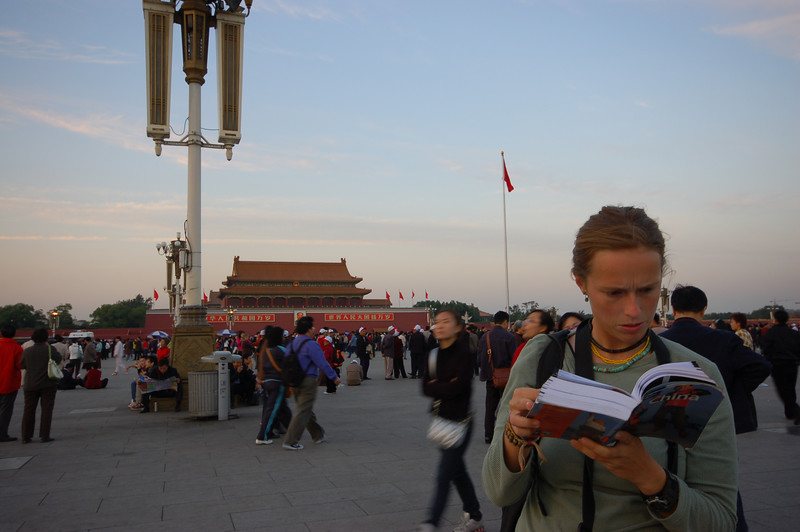 Emilie doing a little bit of research on Tianan'men Square