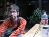 Yann in the hostel courtyard