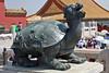 Dragon Tortoise Sculpture stands watch in Forbidden City, Beijing, China