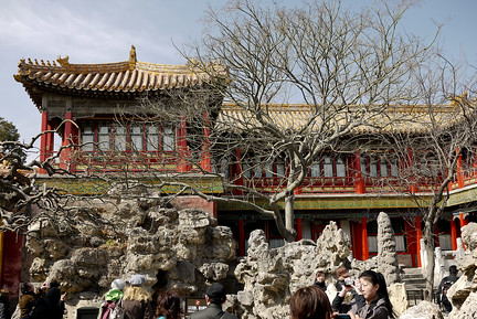 The red buildings of the Forbidden City in Beijing, China offset by the winter trees and rock garden.