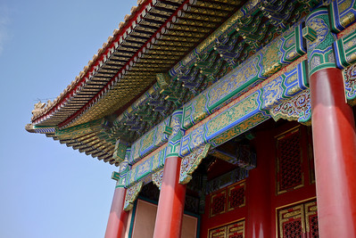 Intricate details on the temples inside the Forbidden City in Beijing, China.