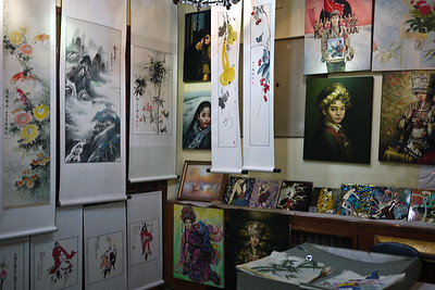 Artwork and an exhibit from students in the countryside of China at the Forbidden City in Beijing.