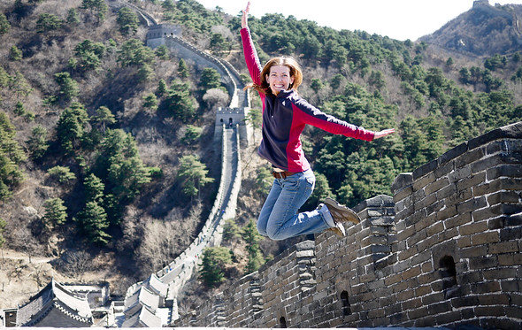 Jumping for joy at the Great Wall of China!