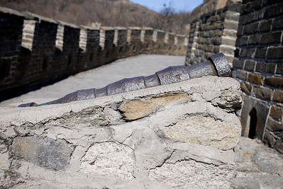 Old cannon on the Great Wall of China
