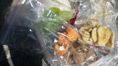Bag of dried fruits for hiking the Great Wall!