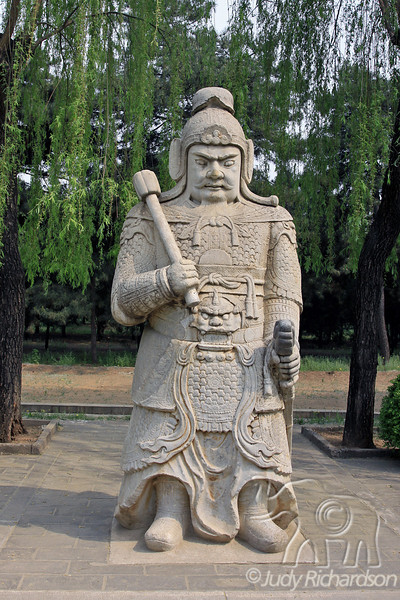 Statue displaying ceremonial garment on the Ming Tombs grounds