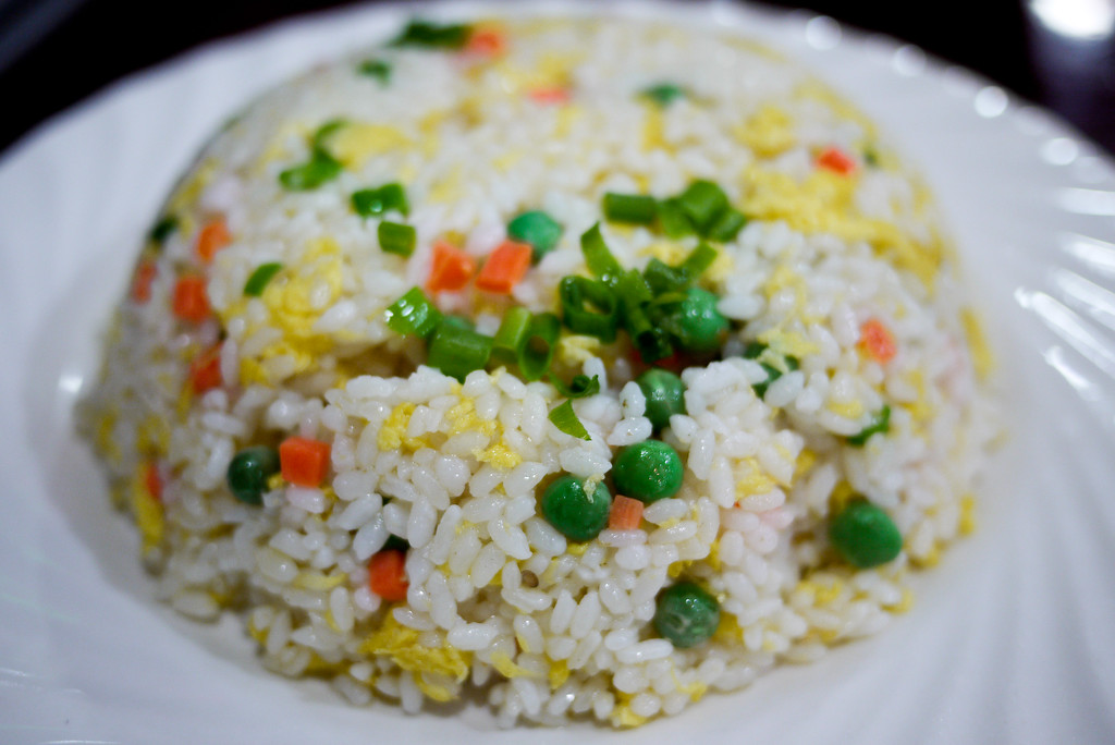 Fluffy and moist Chinese fried rice in Beijing, China.