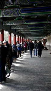 The long hallway to the Temple of Heaven in Beijing, China.