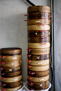 Wooden dumpling containers they use to steam the delicious Chinese dumplings!