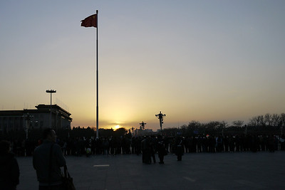 Tiananmen Square in the evening as we wait for the lowering of the flag, Beijing, China.