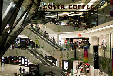 Bustling and trendy new mall in Beijing, China.