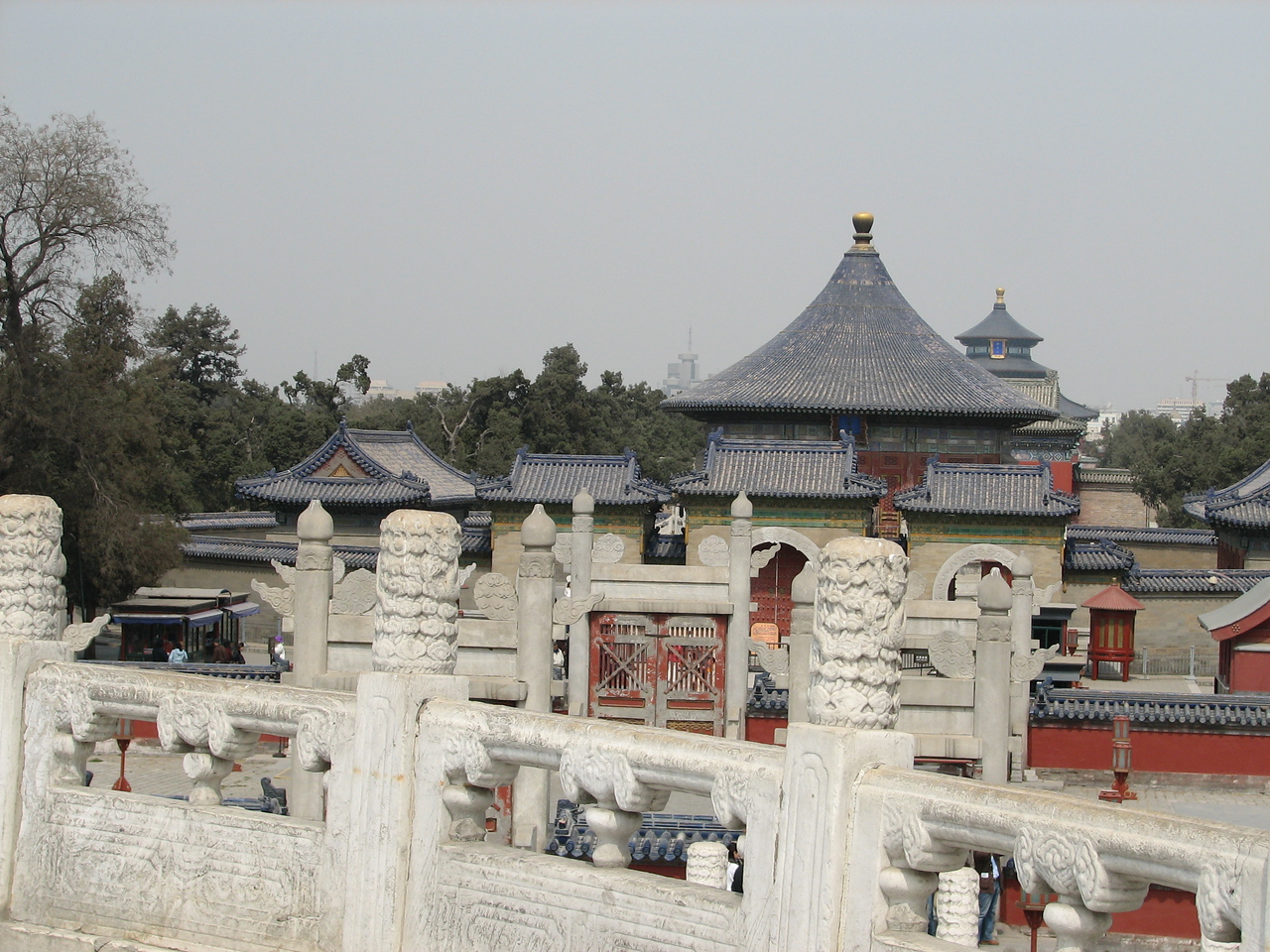 View from the Round Altar toward the Temple of Heaven and, in the background, the Temple of Prayer for Good Harvests