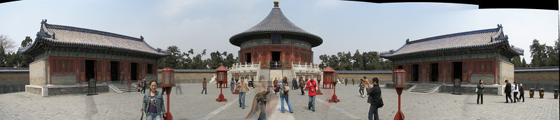 Panorama of the Temple of Heaven and its two annexes. Assembled using AutoStitch.