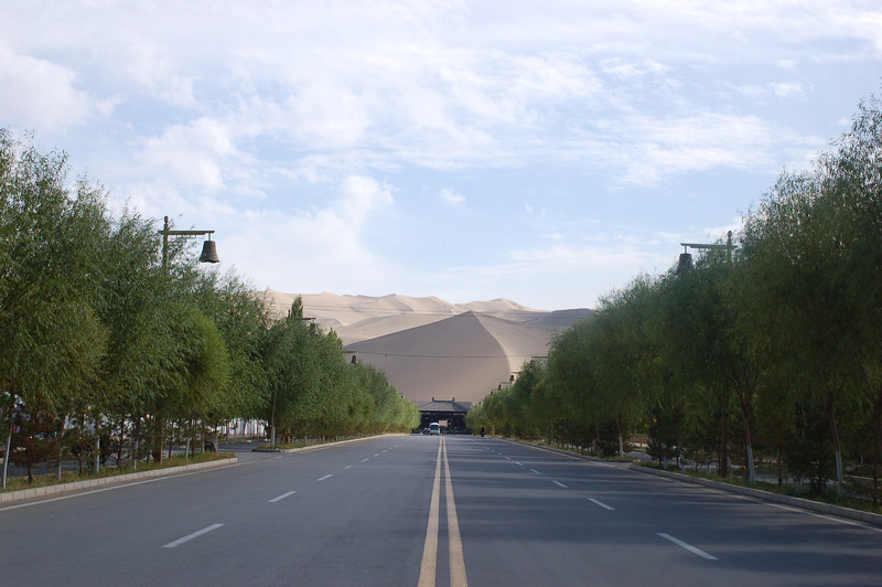 China, Ganzu, Dunhuang: The road leading up to the dunes, just outside of town.