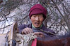 China, Sichuan, Songpan: Saddling horses on ice cold morning.