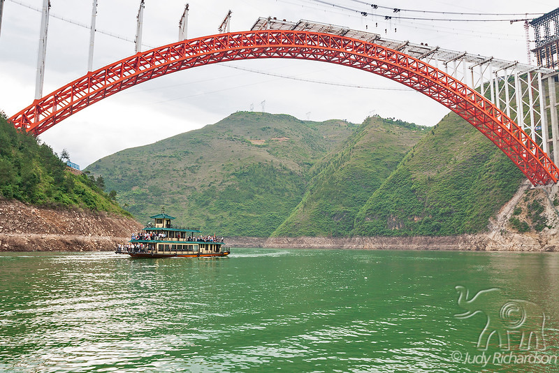 The Wushan Yangtze River Bridge in the majestic Three Gorges, Hubei province, China.