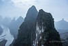 Lijiang River and karst mountains in thick morning smog, Xingping, Guangxi Province, China
