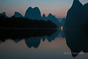 Pre-dawn with distant light, Li River Karst Mountains, Xingping, Guilin, China