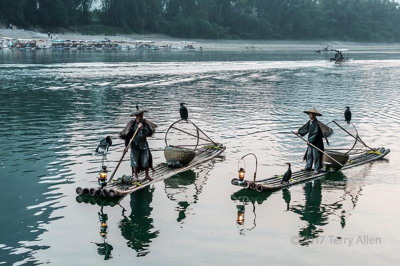 Pair of cormorant fishermen on the Li River, Xingping, Guilin, China