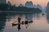 Early morning activity on the Li River, Xingping, Guilin, China