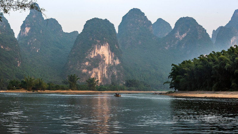Scenic karst mountains along the Li River, Xingping, Guangxi Province, China