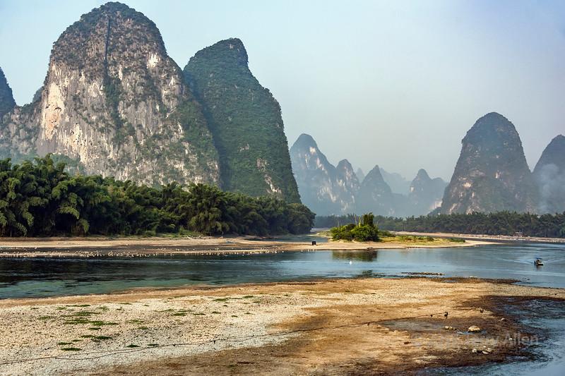 Karst mountains along the scenic Li River, Xingping, Guangxi Province, China
