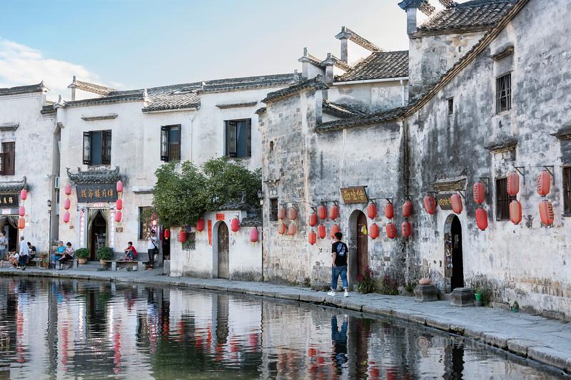 Half moon lake with Chinese lanterns, Hongcun Ancient Town, Lixian, Anhui, China