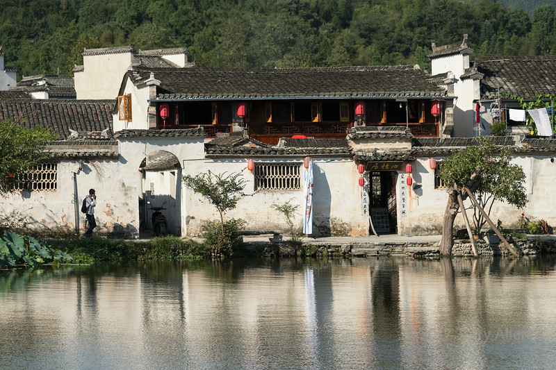 Hongcun Ancient Town reflected in South Lake, UNESCO, Yixian, Anhui, China