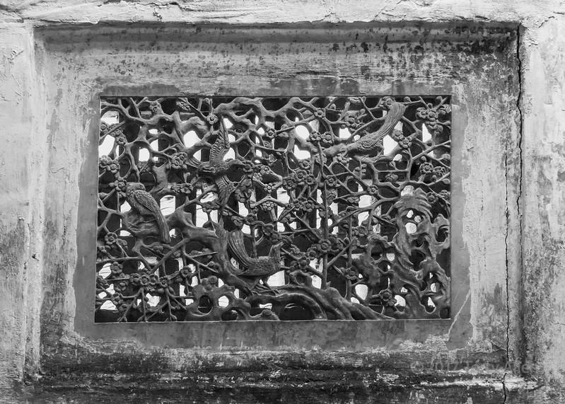Beautiful flowers and birds metal screen, Hongcui Ancient Town, Lixian, Anhui, China