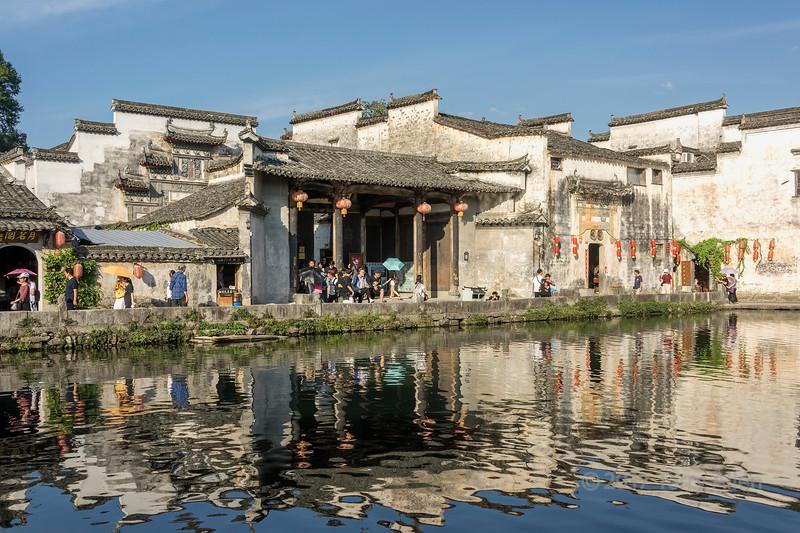 Late day activities around Half Moon Lake, Hongcun Ancient Town, Lixian, Anhui, China