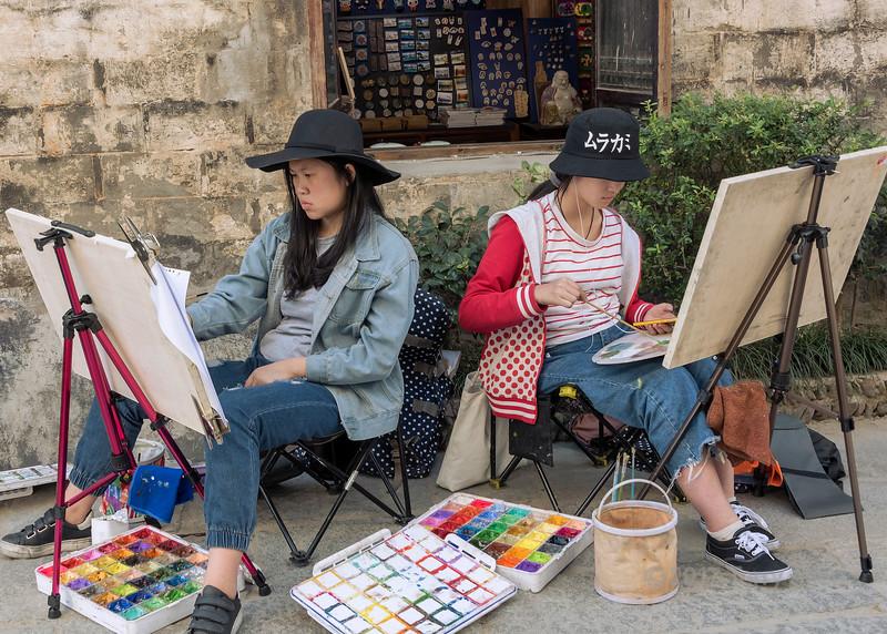Young artists in Hongcun