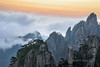 Sunrise and blowing clouds in a strong wind at Huangshan, Anhui, China