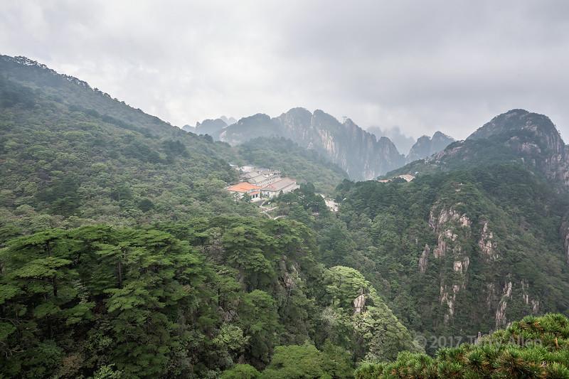 Distant view of the Beihai Hotel in the Huangshan National Park, Anhui, China