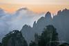 Granite pillars and blowing clouds at sunrise, Huangshan, Anhui, China