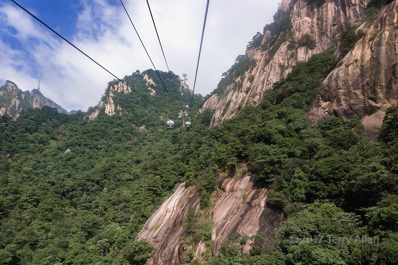 Granite cliffs along the Yungu cable car up the Huangshan Mountains, Anhui Province, China