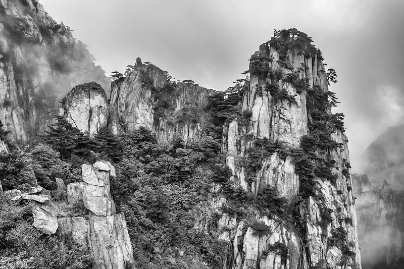 Mountains in the mist, Huangshan National Park, Anhui Province, China